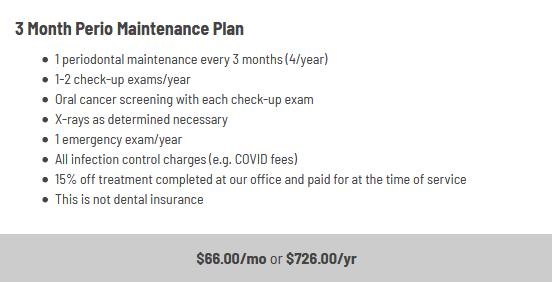 Infographic explaining the three month periodontal maintenance plan