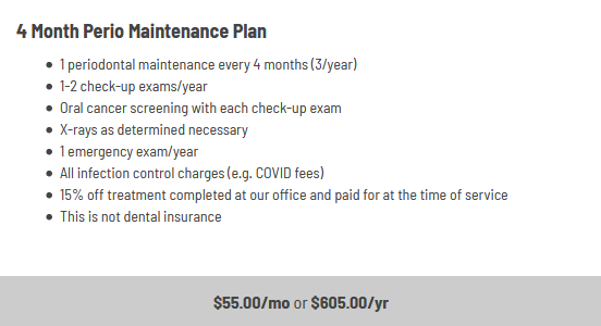 Infographic explaining the four monthperiodontal maintenance plan